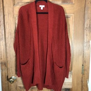 Burgundy Oversized Long Line Open Front Cardigan